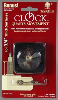 "Walnut Hollow TQ700P 3/4"" Clock Movement"