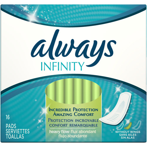Always Infinity Heavy-Flow Unscented Feminine Pads, 16ct