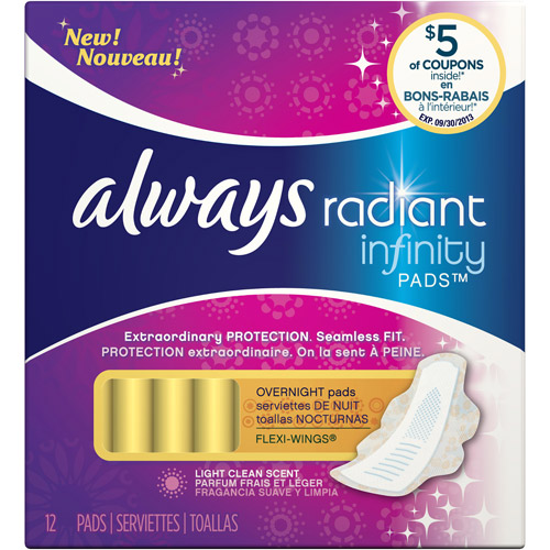 Always Radiant Infinity Overnight Fresh Scented Feminine Pads, 1