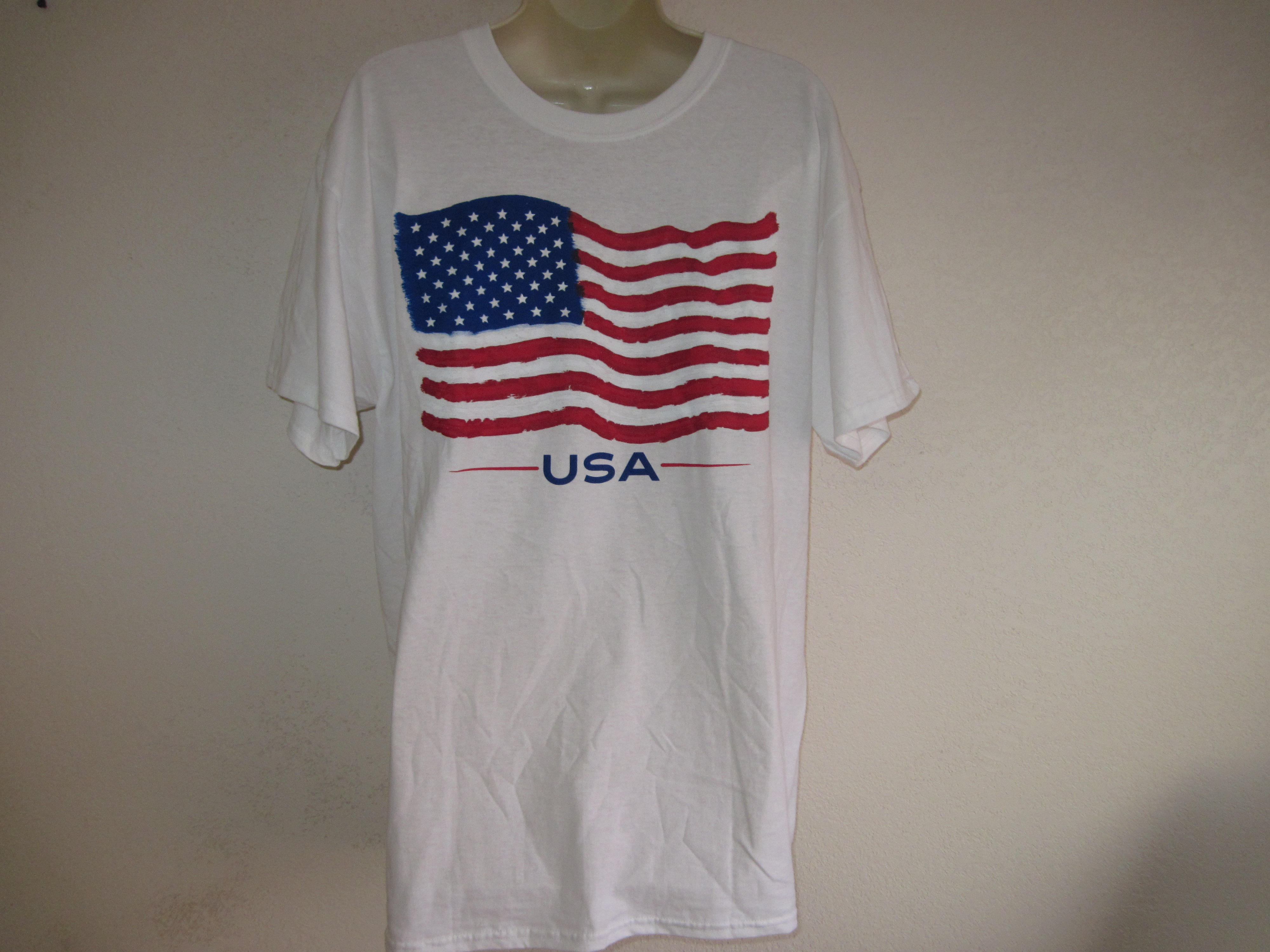 American Flag Sz Lg Short Sleeve T-Shirt white