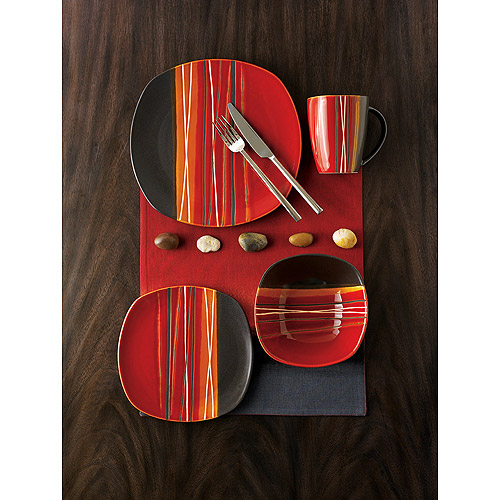 Hometrends Bazaar Red 16-Piece Dinnerware Set