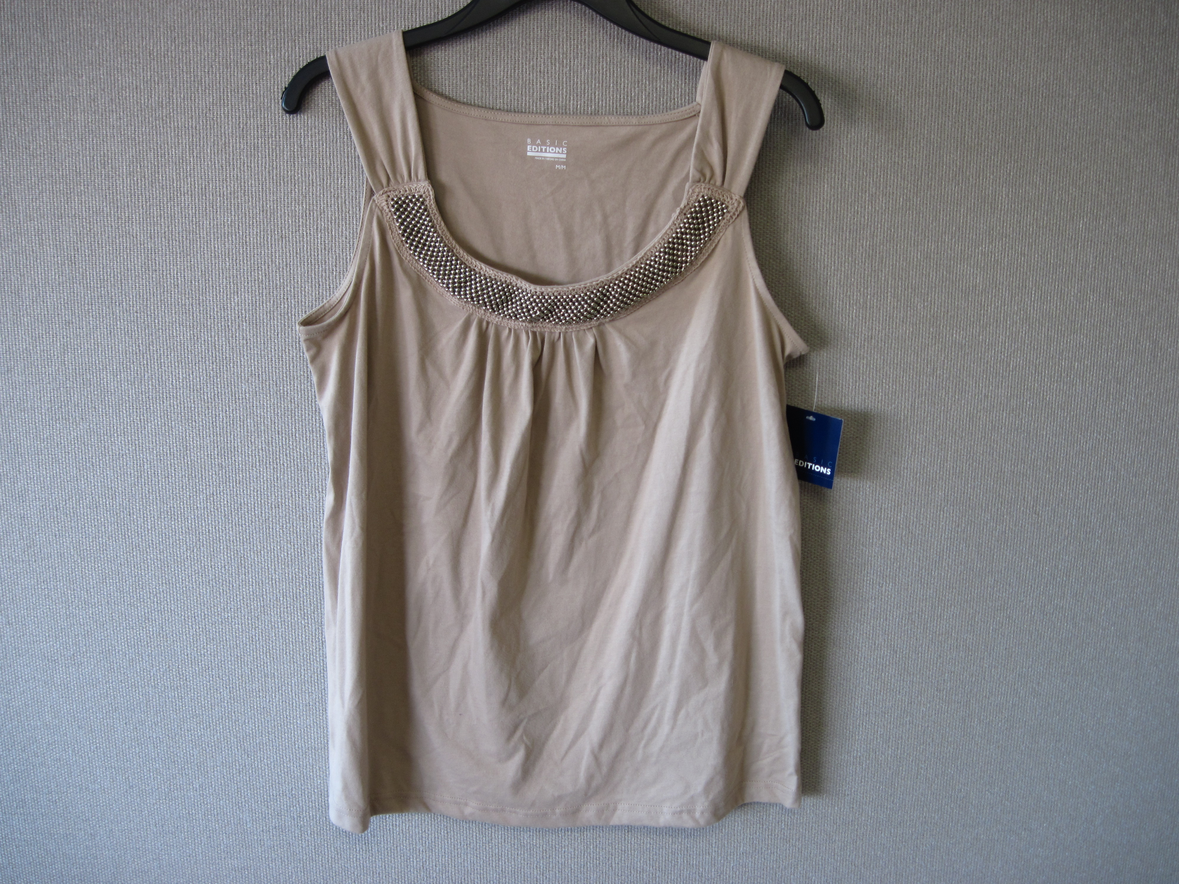 Basic Editions XL Beaded Tank Top Tan