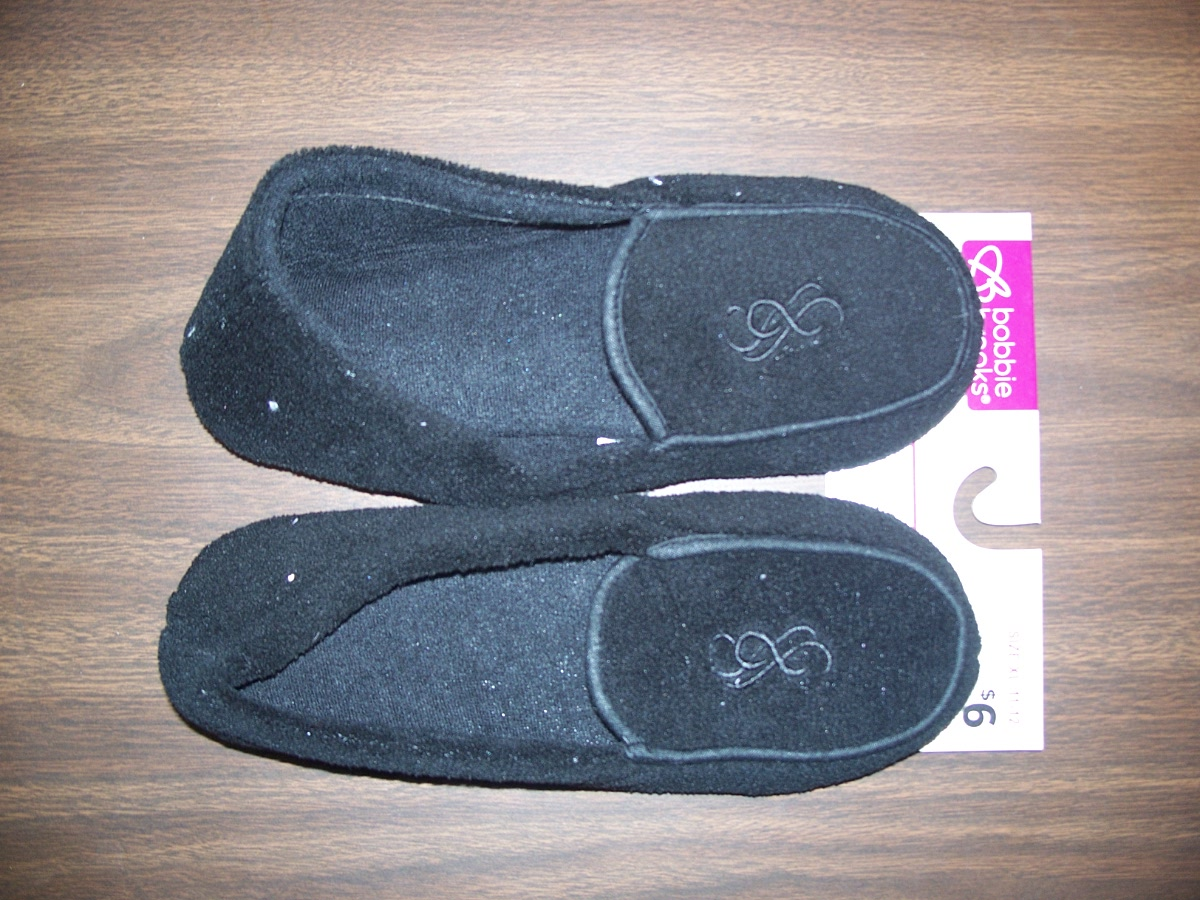 Sz Medium 7-8 Black Comfort Slipper