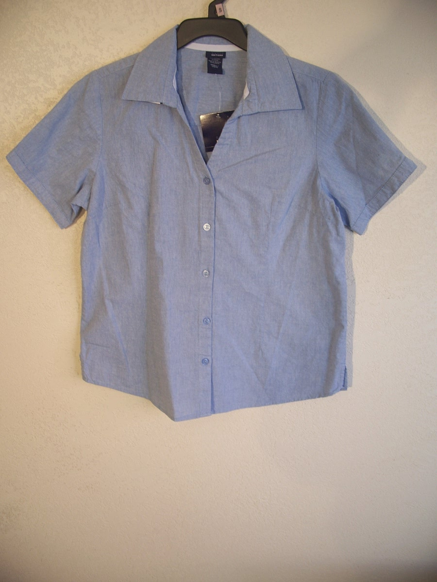 Basic Editions Sz S Button up Shirt (Blue)