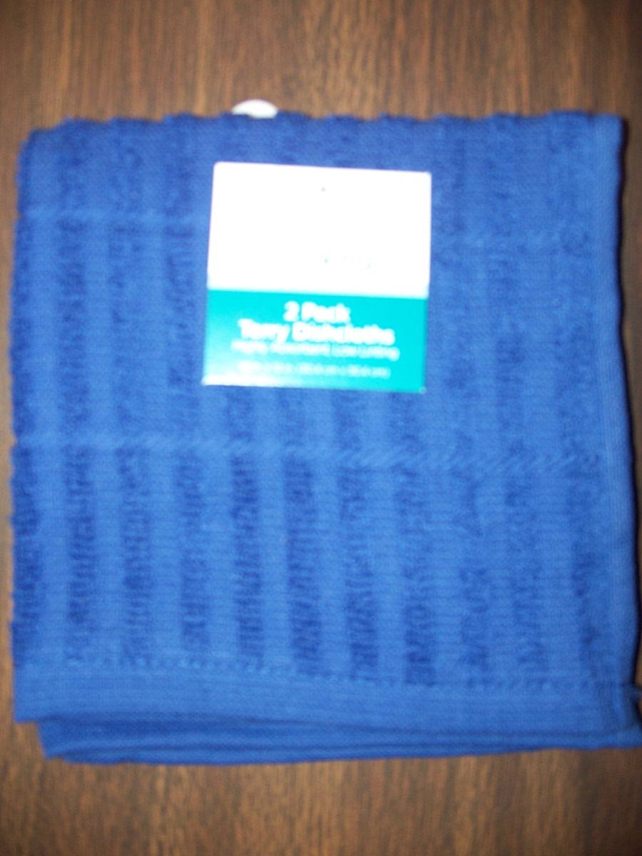 2 Pack Blue Terry Dishcloths