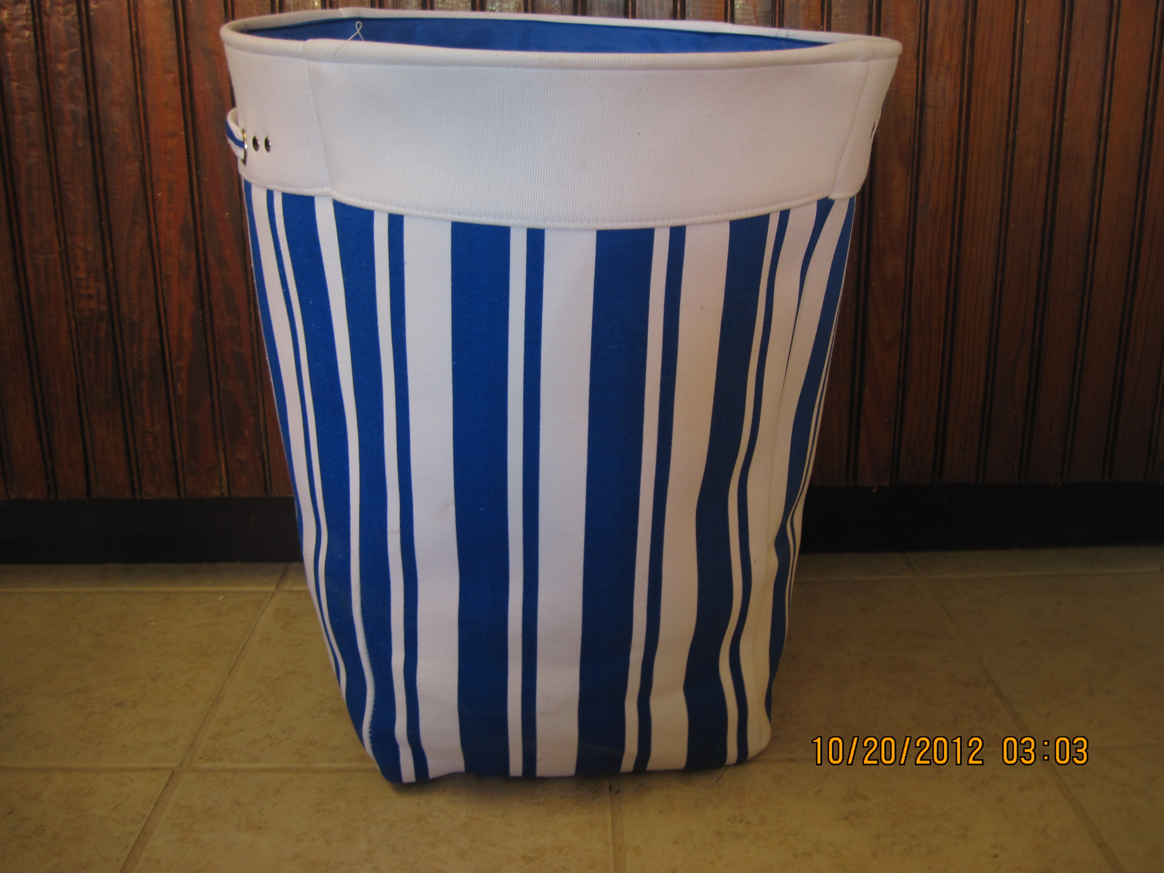 TrueLiving Canvas Hamper(blue & white striped)