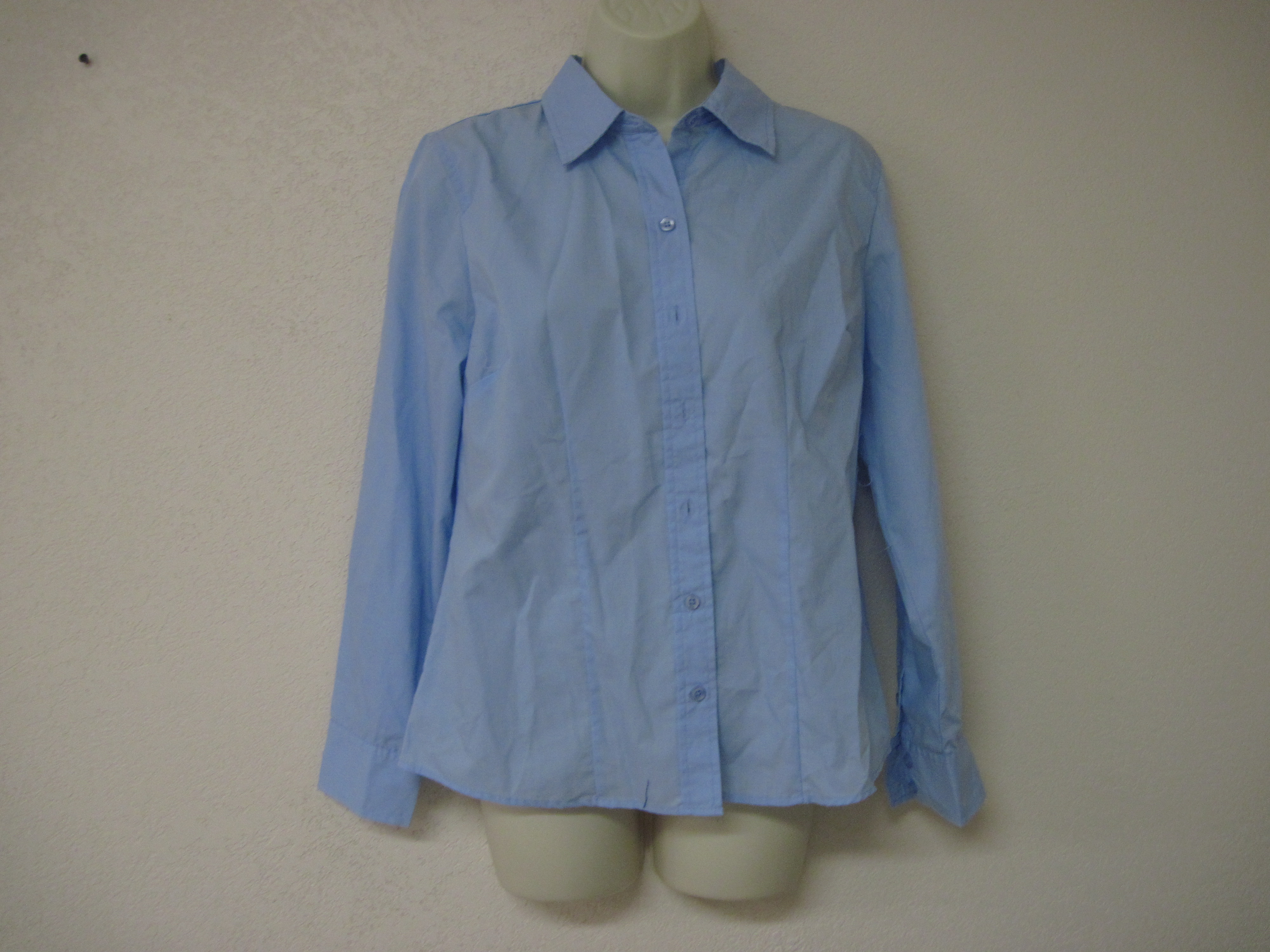 Basic Editions Sz Small Easy Care Woven Shirt (long sleeve,blue)