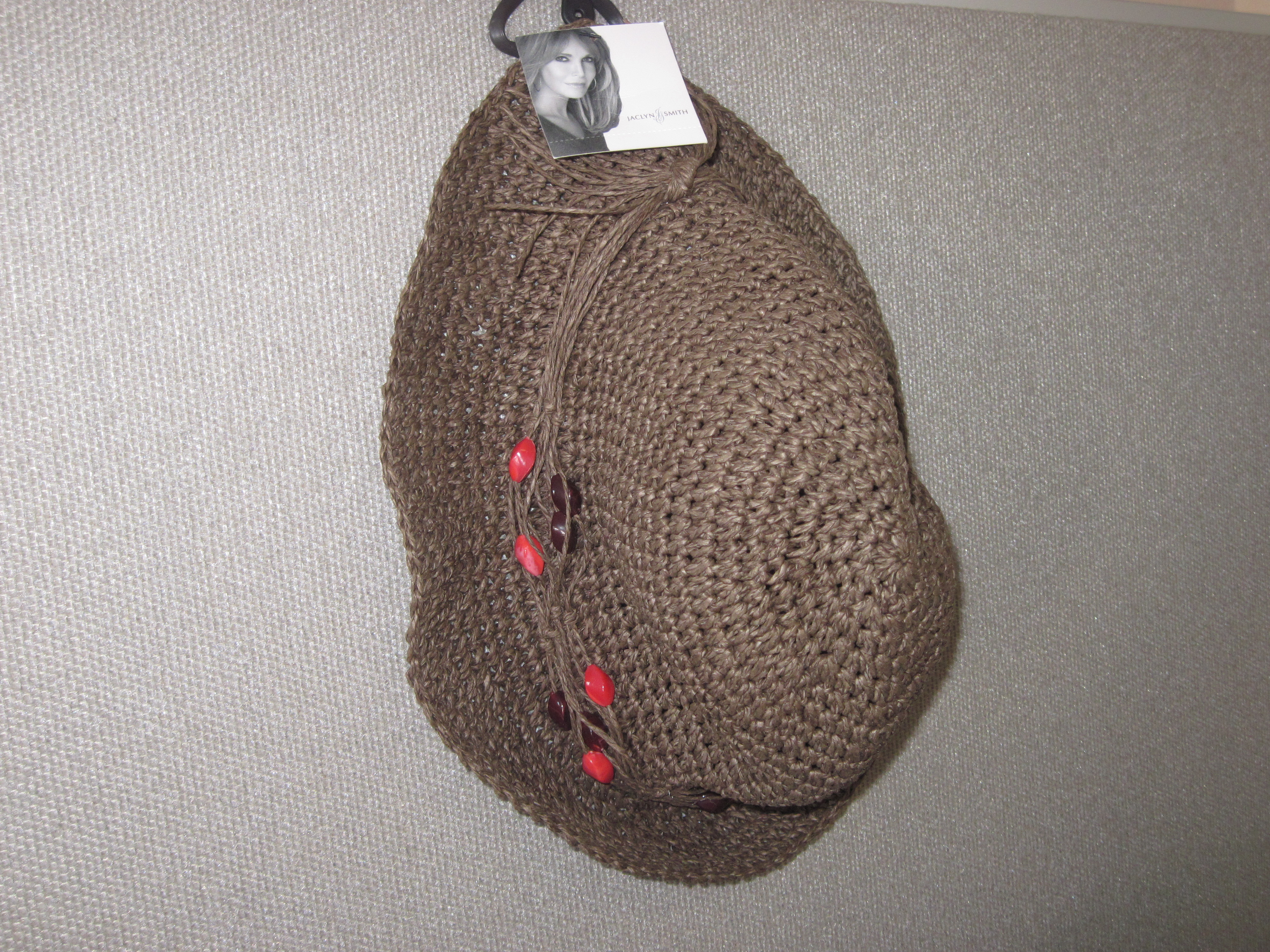 Jaclyn Smith Womens Brown Beaded Woven Hat -One Size