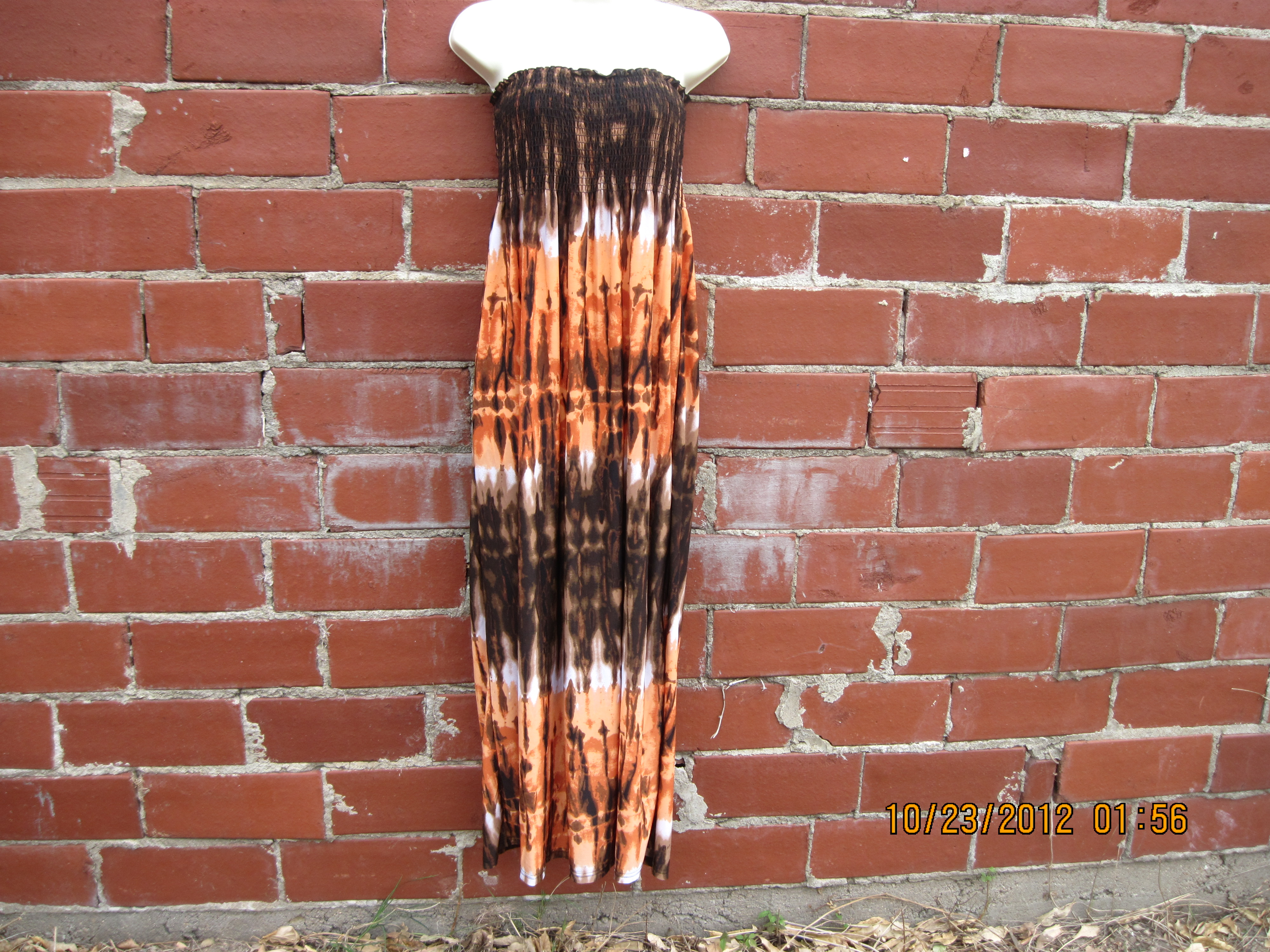 Chesley Sz M Tube Top Dress (burnt orange,browns)