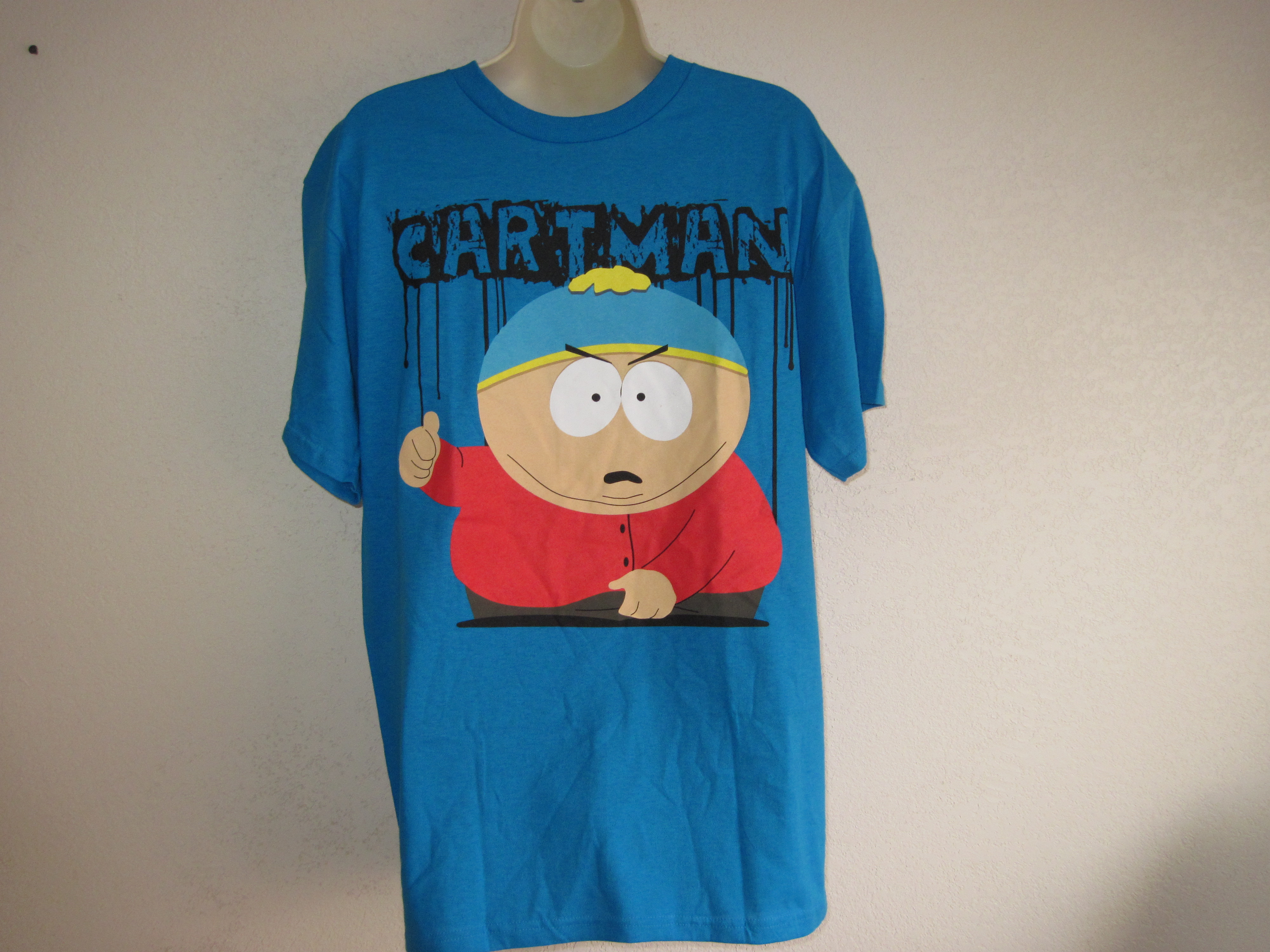 South Park Sz Lg Short Sleeve T-Shirt blue, cartman