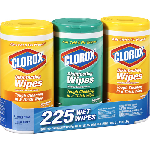 Clorox Disinfecting Wipes 3 Pack, 75 ct