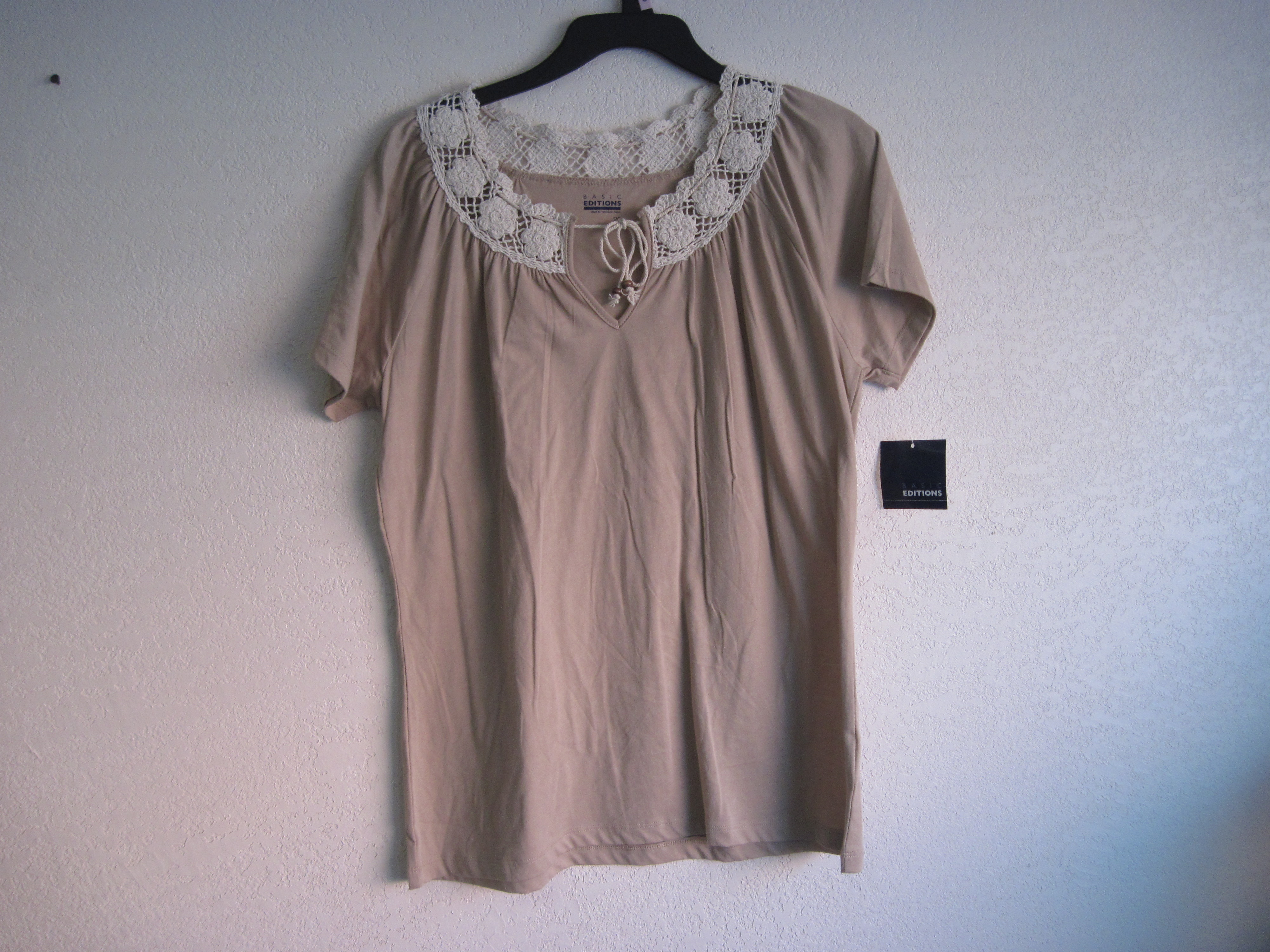 Basic Editions Sz Sm Crochet Neck Top (brown)