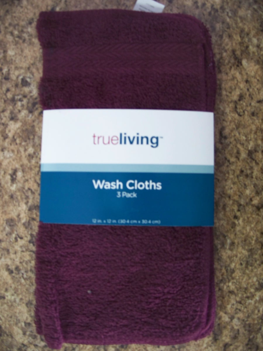 TrueLiving 3 Pack Wash Cloths(Deep Purple)