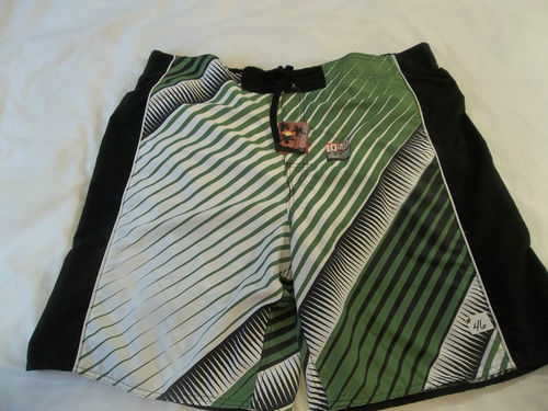 Joe Boxer Sz L Diaganal Stripe Swimwear (green,black,&white)