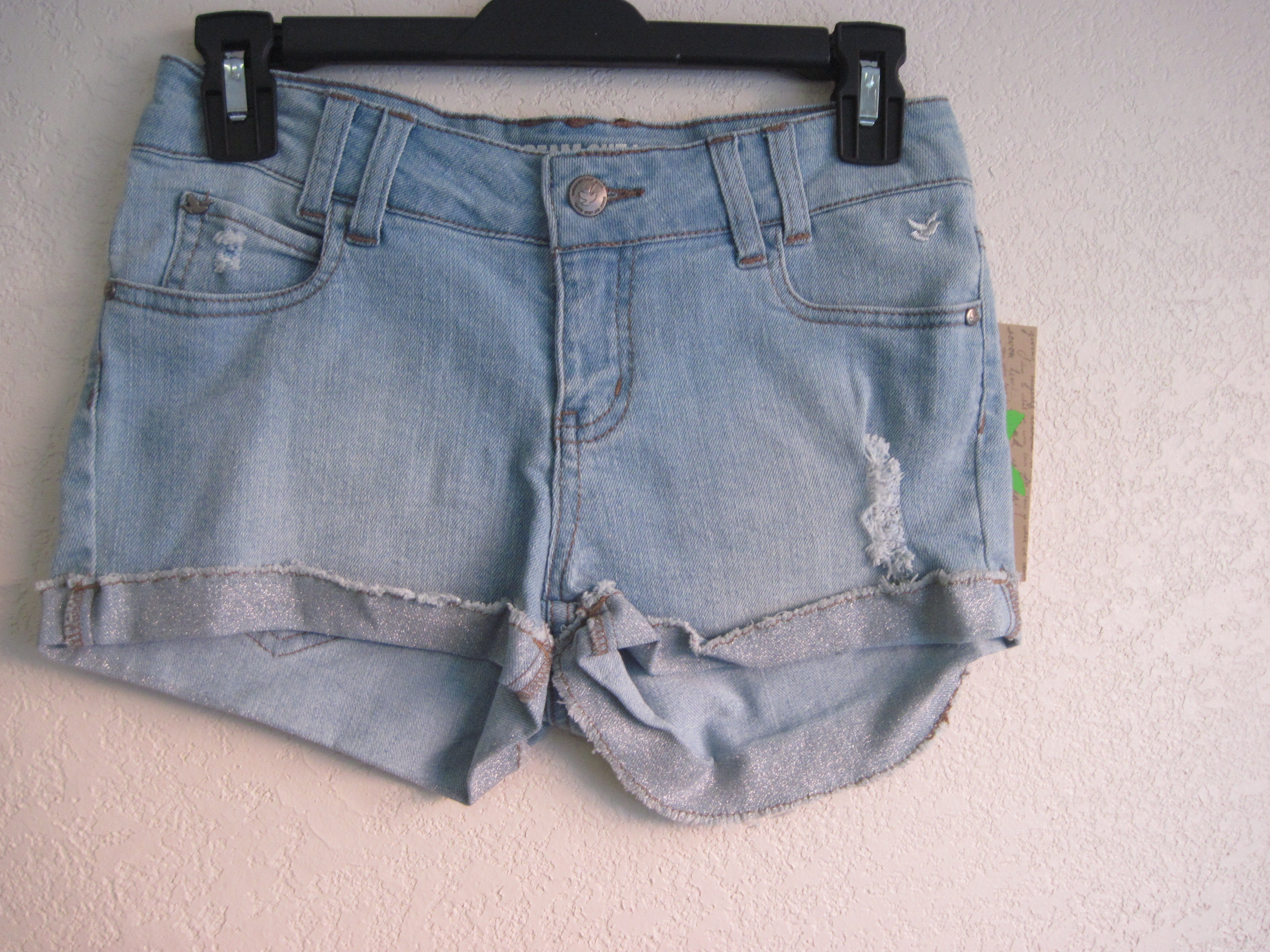 Dream Out Loud Sz 3 Juniors Short Shorts-light denim-glitter