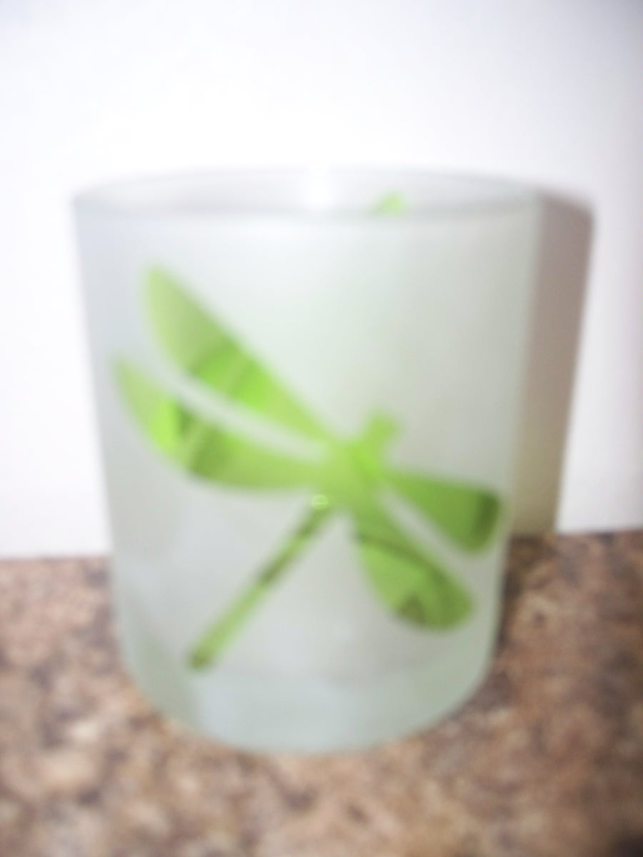 Tealight Candle Holder with Green Dragonfly