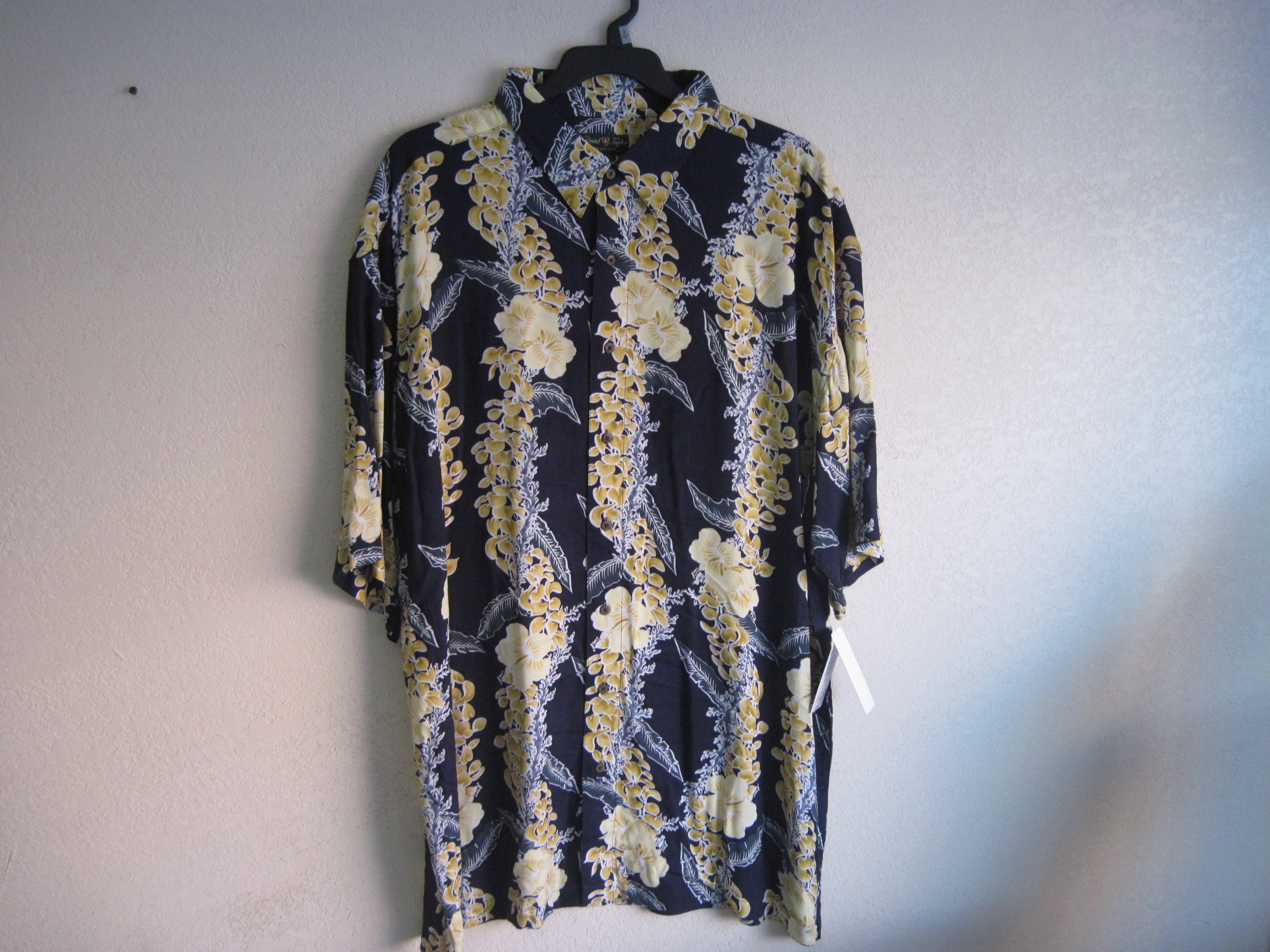 David Taylor Sz 3XLT Mens Floral Design Shirt (drk blue & yellow