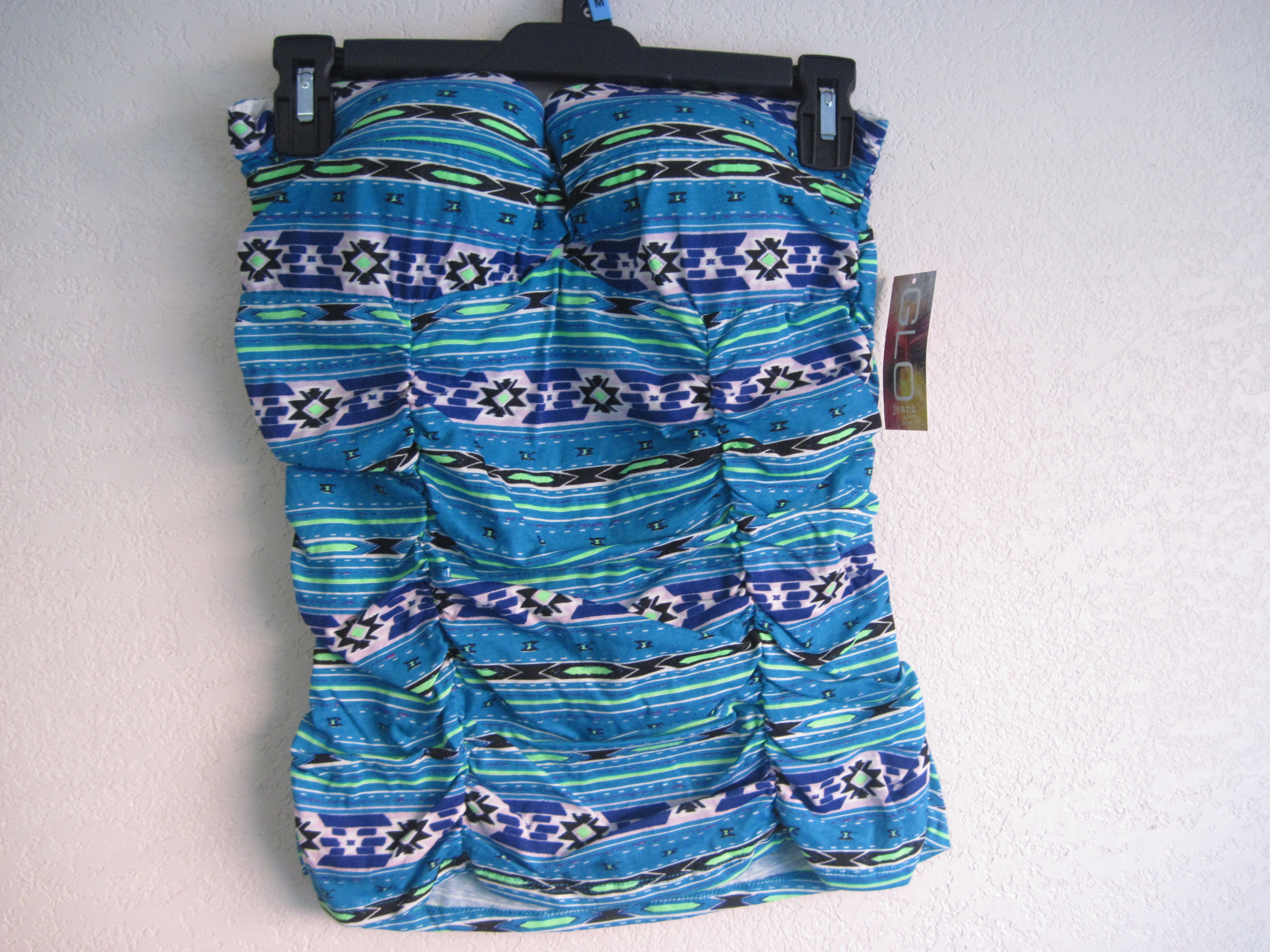 GLO Sz M Juniors Molded Cup Tribal Print Tube Top (blue&purple)