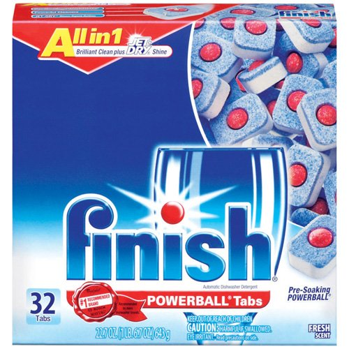 Finish Powerball Tabs Dishwasher Detergent, Fresh Scent, 32 ct