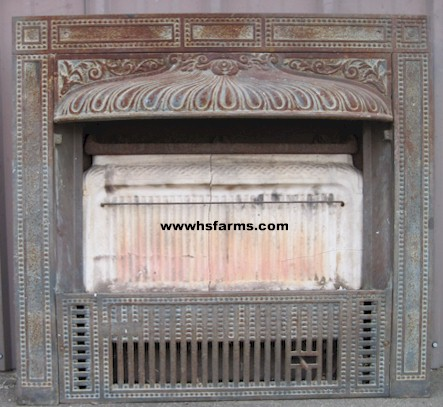 Antique Ornate Cast Iron Gas Fireplace Insert late 1800's