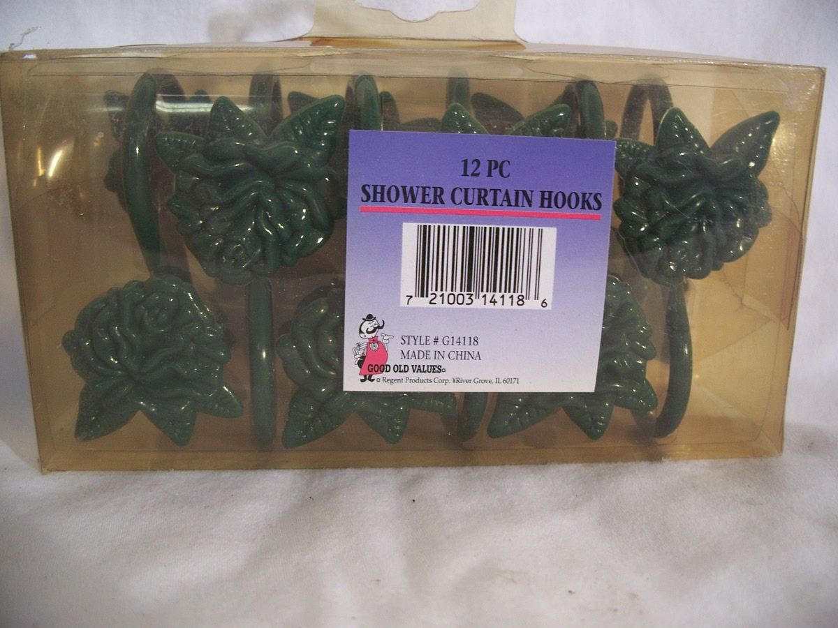 12 PC Shower Curtain Hooks Green Flower
