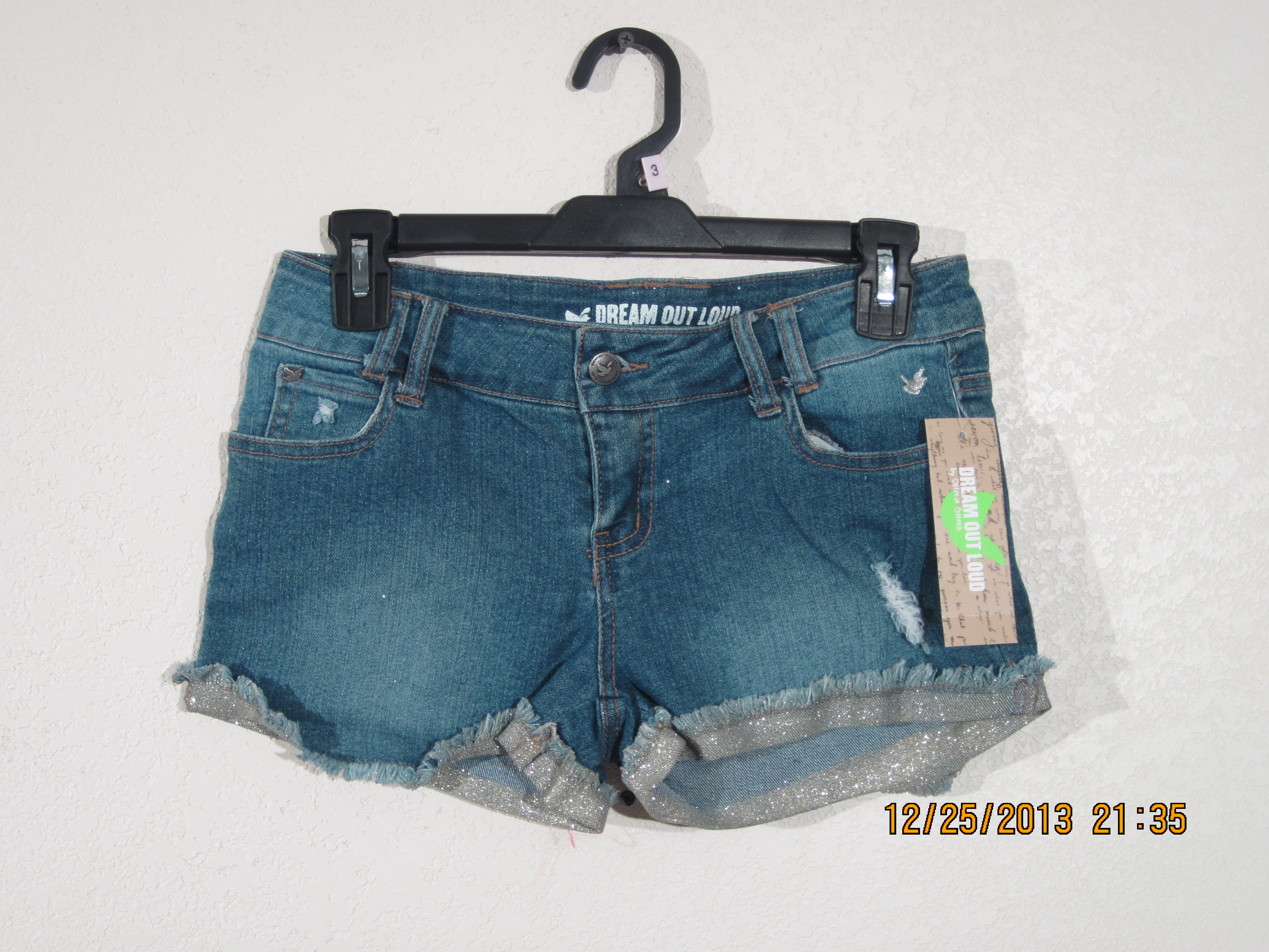 Dream Out Loud Sz 9 Juniors Rolled Glitter Cuff Short Shorts