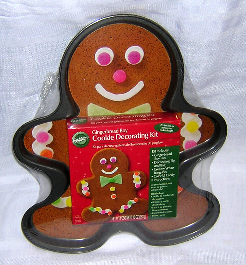 Wilton Gingerbread Man Boy Non-Stick Cookie Pan with Decorating