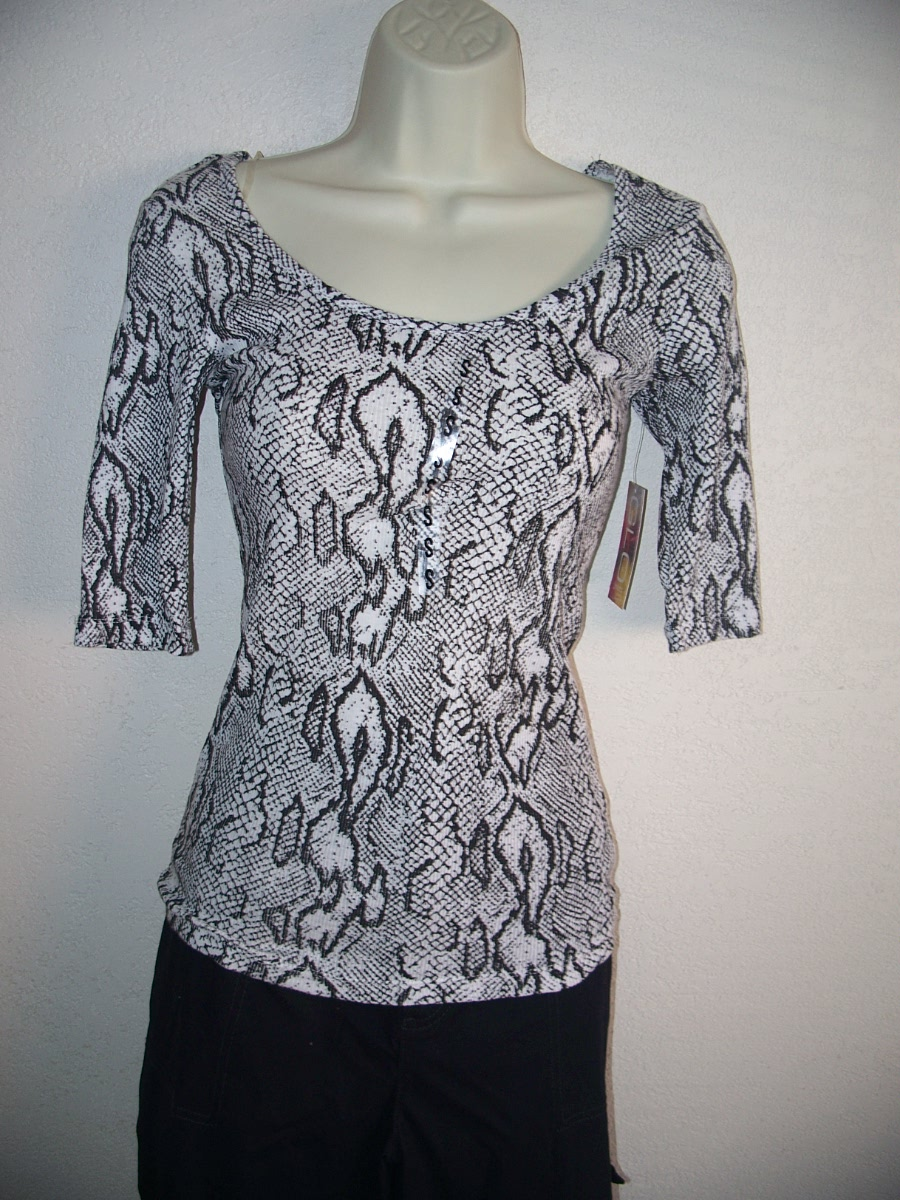Glo Black & White Snakeskin Print Top SZ Junior Small