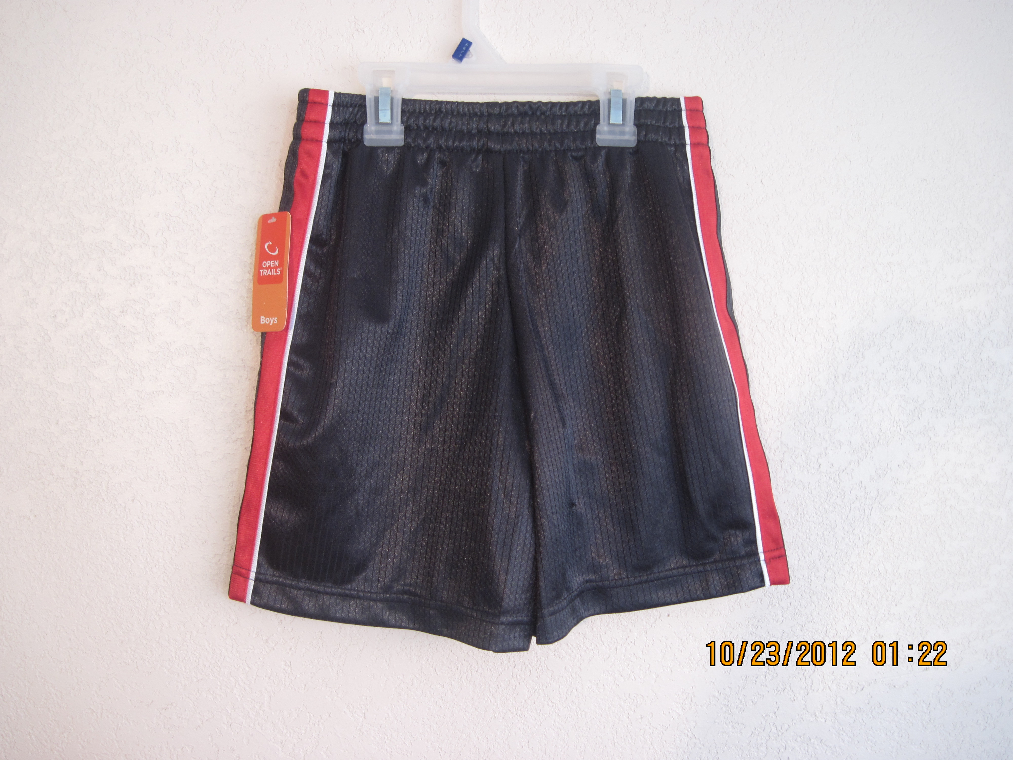 Open Trails Sz XS4-5 Mesh Shorts Gray, Red/White/Black down