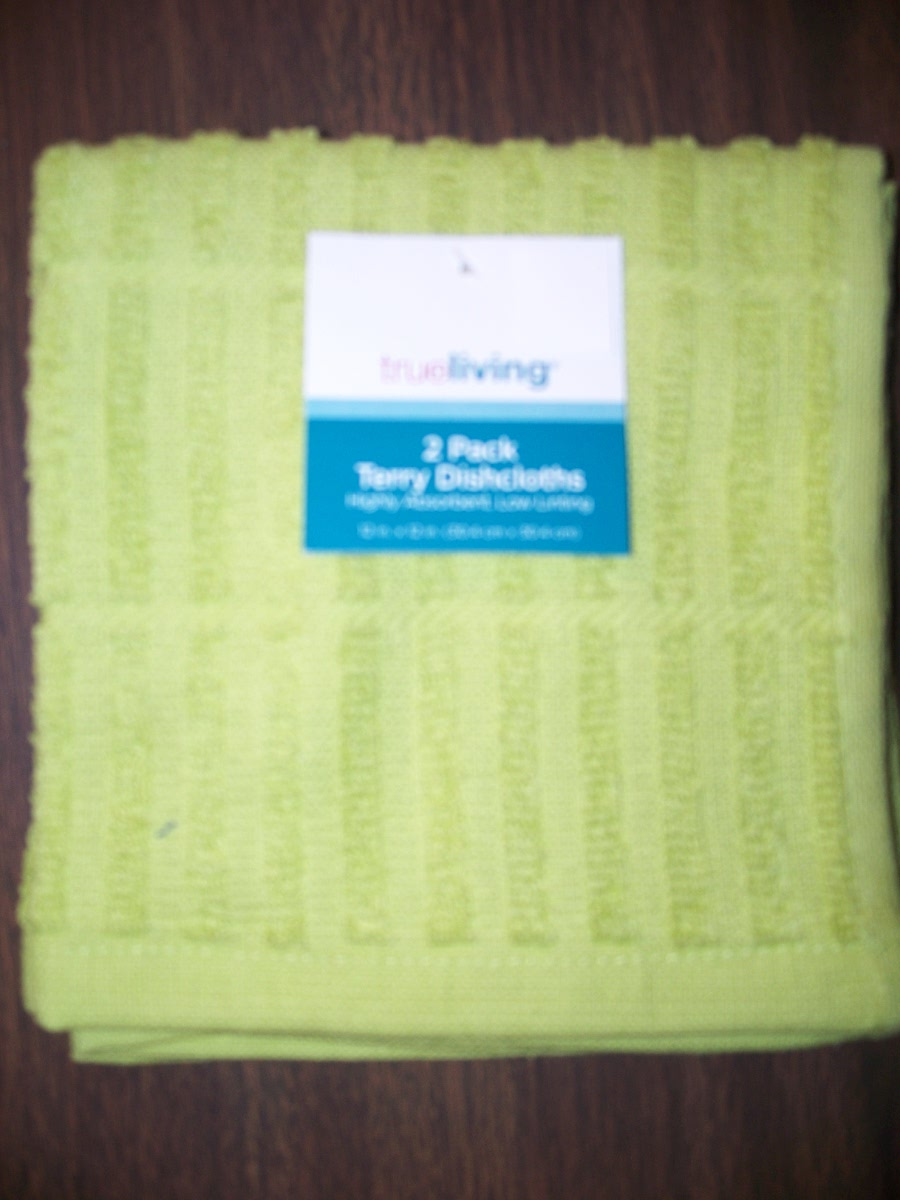 2 Pk Green Terry Dishcloths
