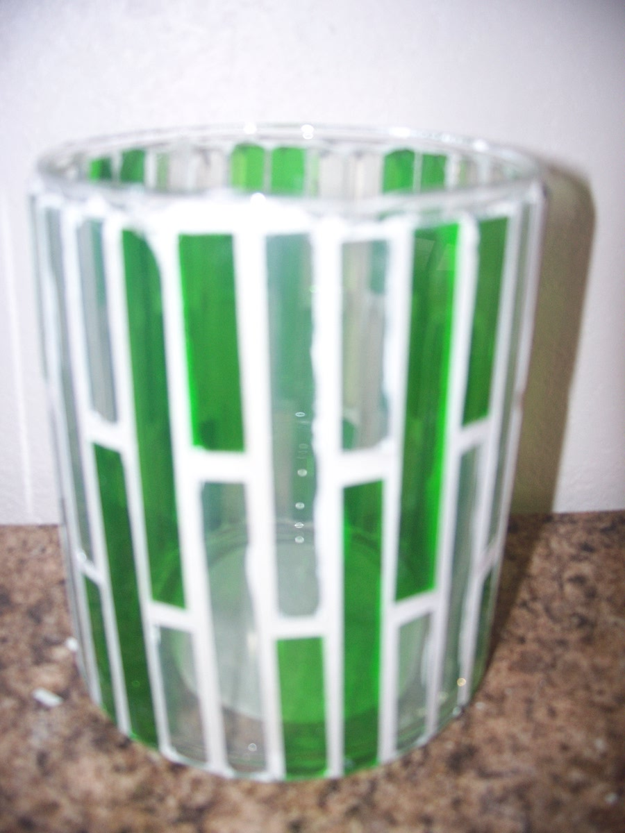 Green & White Candle Holder