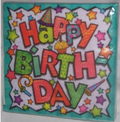 happy birthday napkins pk green