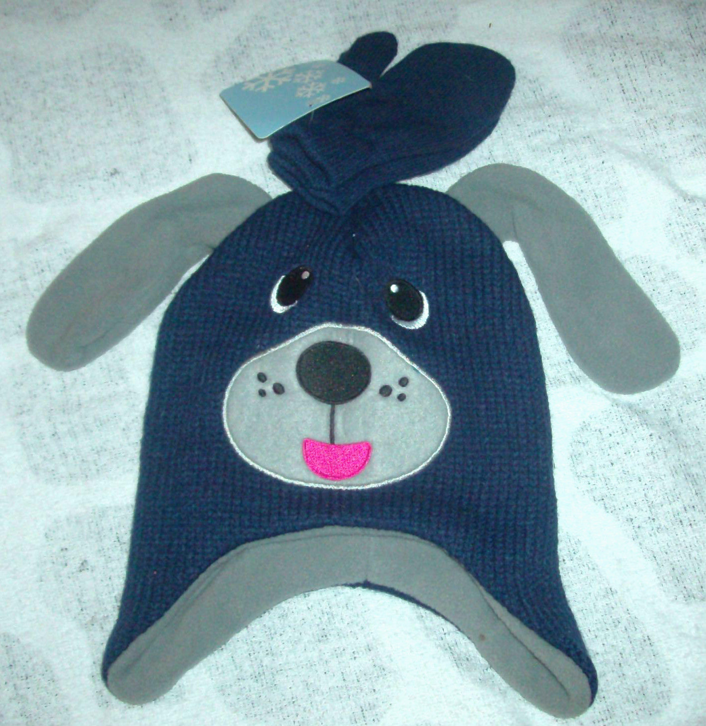 Stocking Cap / Hat Boys Navy & Gray Dog Face Hat with Mittens