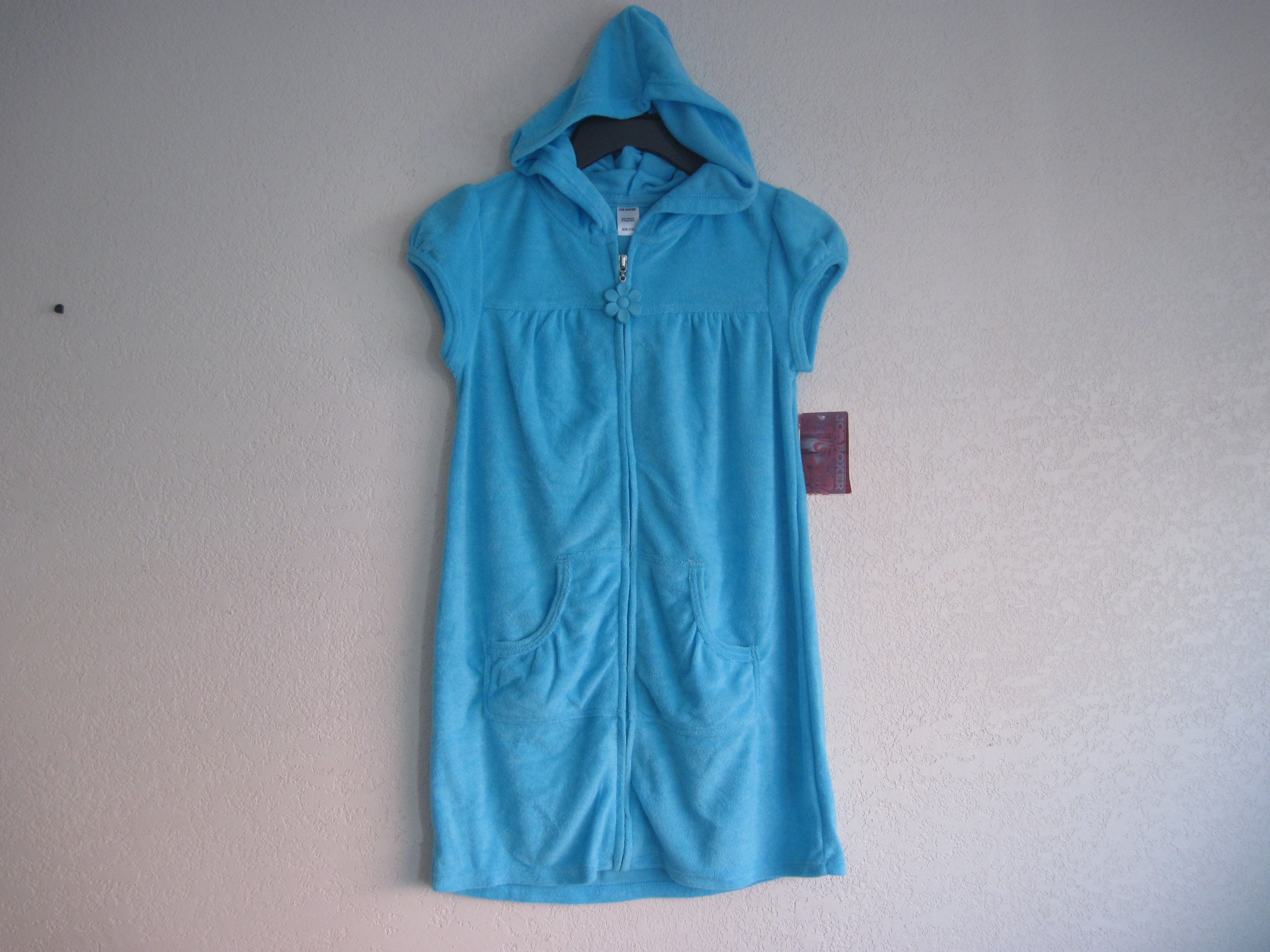 Joe Boxer Sz S 6/6X Girls Terry Cover-UP (sky blue)