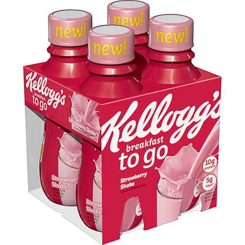 Kellogg's Breakfast To Go Strawberry Shake, 10 fl oz, 4 count