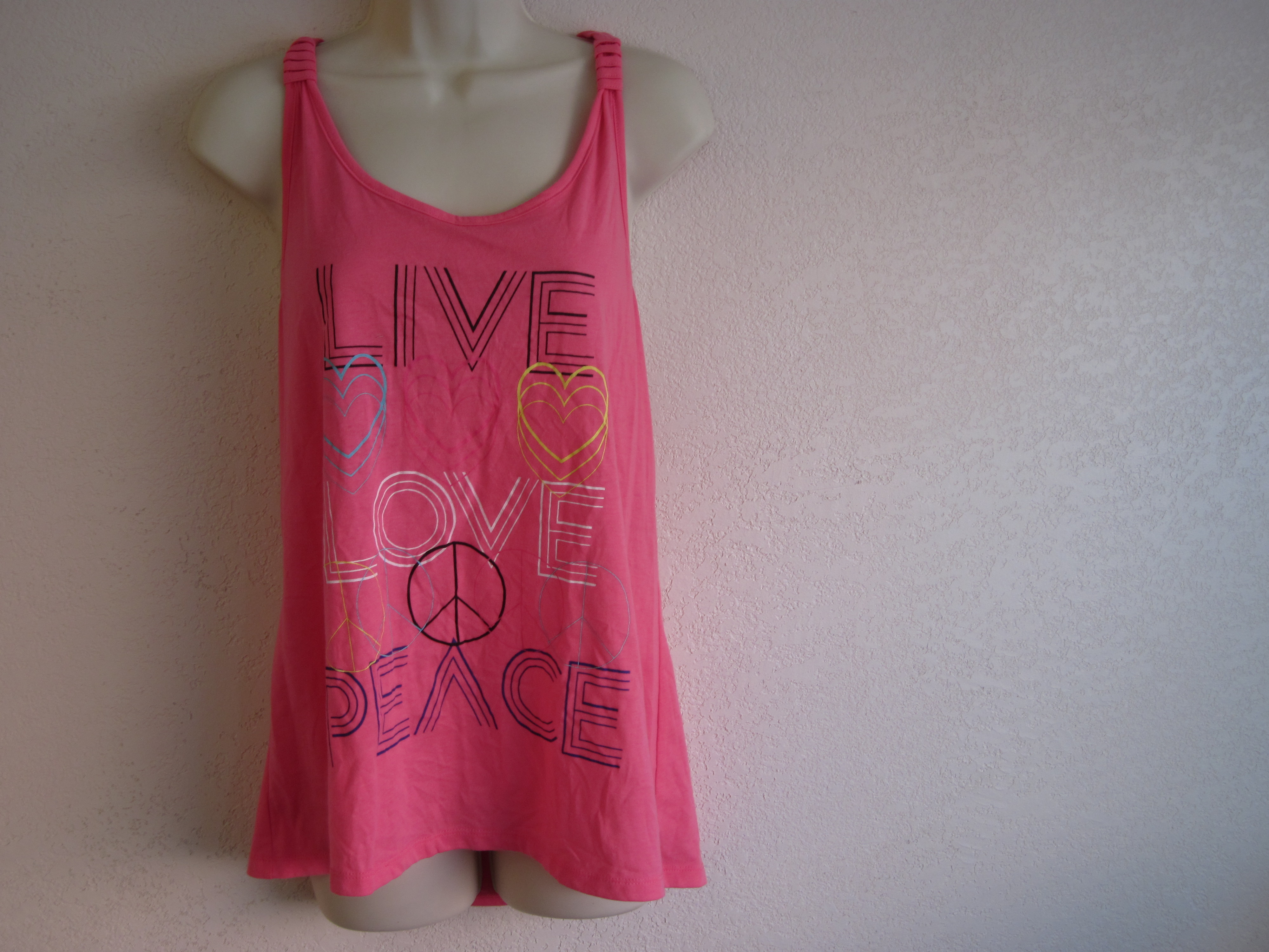 Joe Boxer Sz XL Tank Top (Live,Love, Peace) on Front Pink