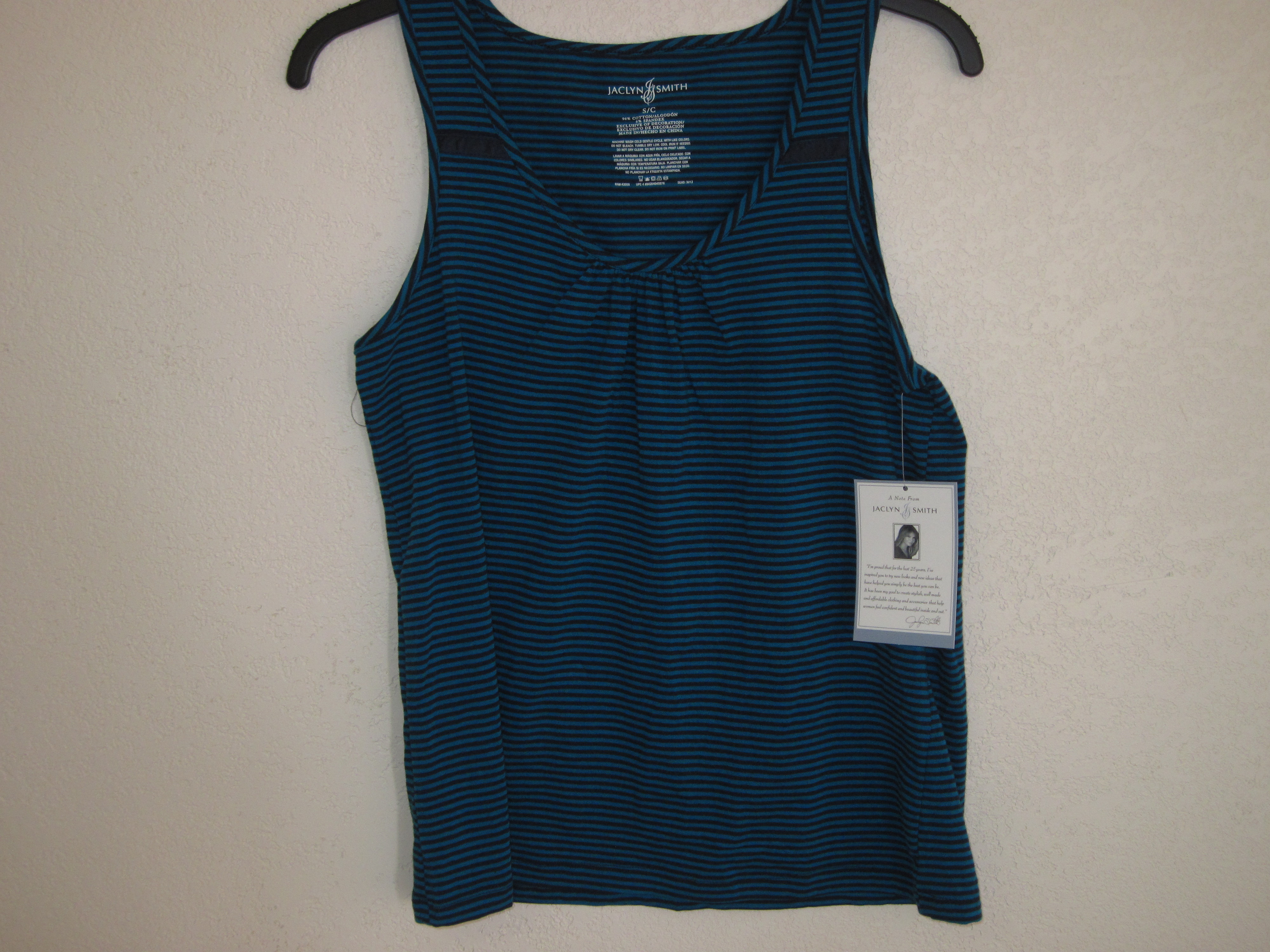 Jaclyn Smith Sz Small Loungewear Tank Top (blue&black stripe)