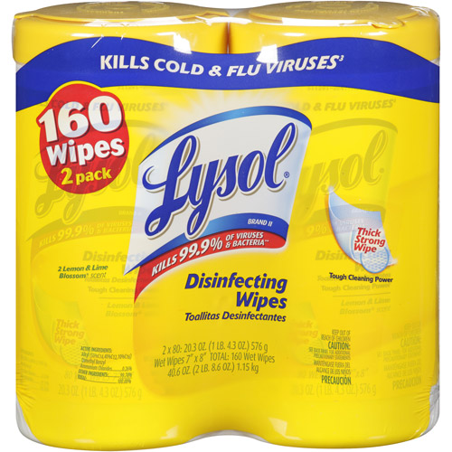 Lysol Disinfecting Wipes, Lemon & Lime Blossom Scent, 80 ct (Pac