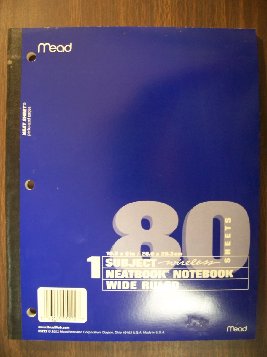 Mead Wide Ruled Notebook Blue - 80 ct