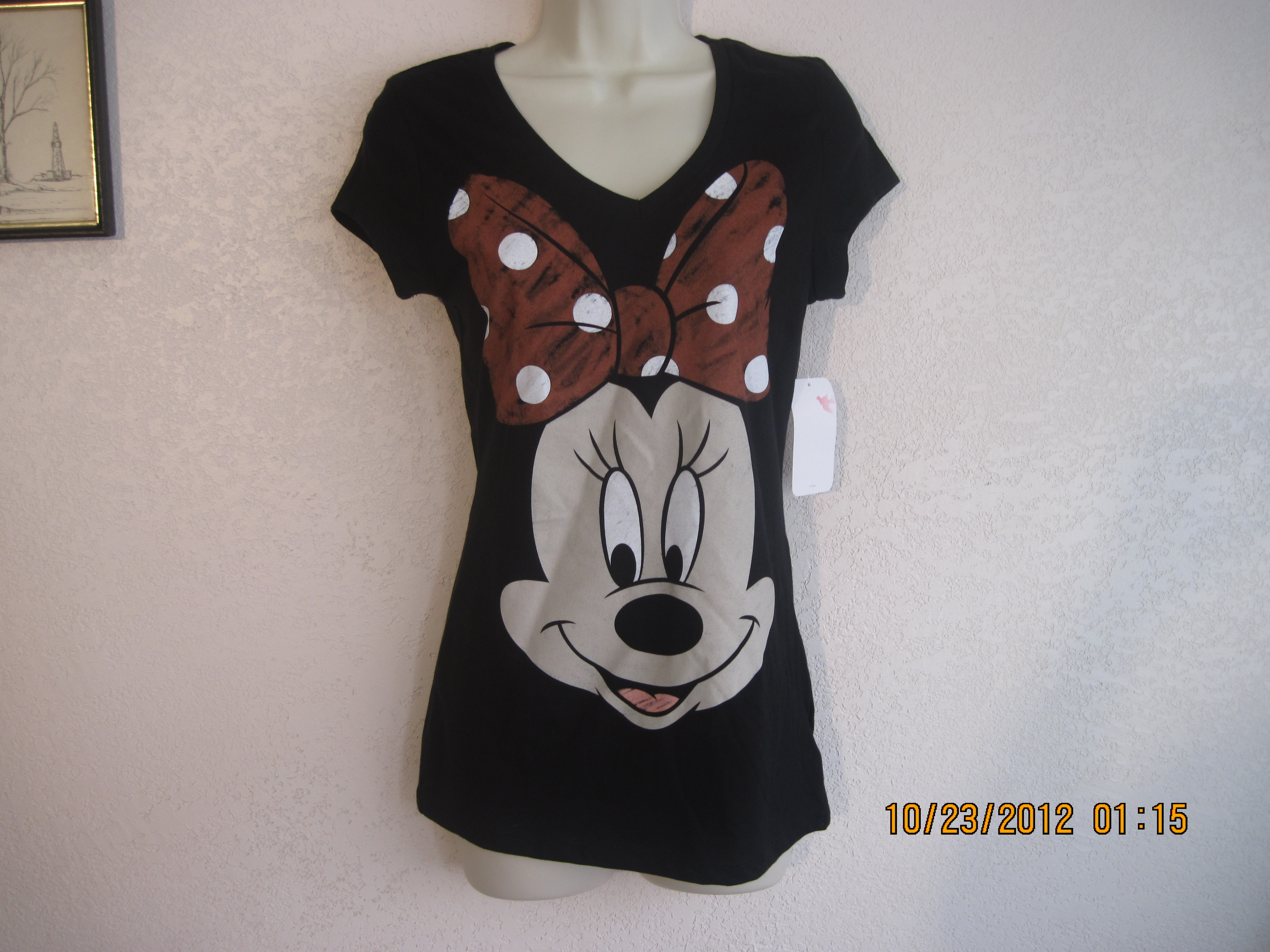 Disney Minnie Mouse Sz M Minnie on the front (Black)