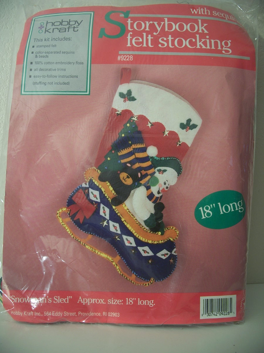 """SNOWMAN'S SLED"" STORYBOOK FELT STOCKING 18"" LONG"