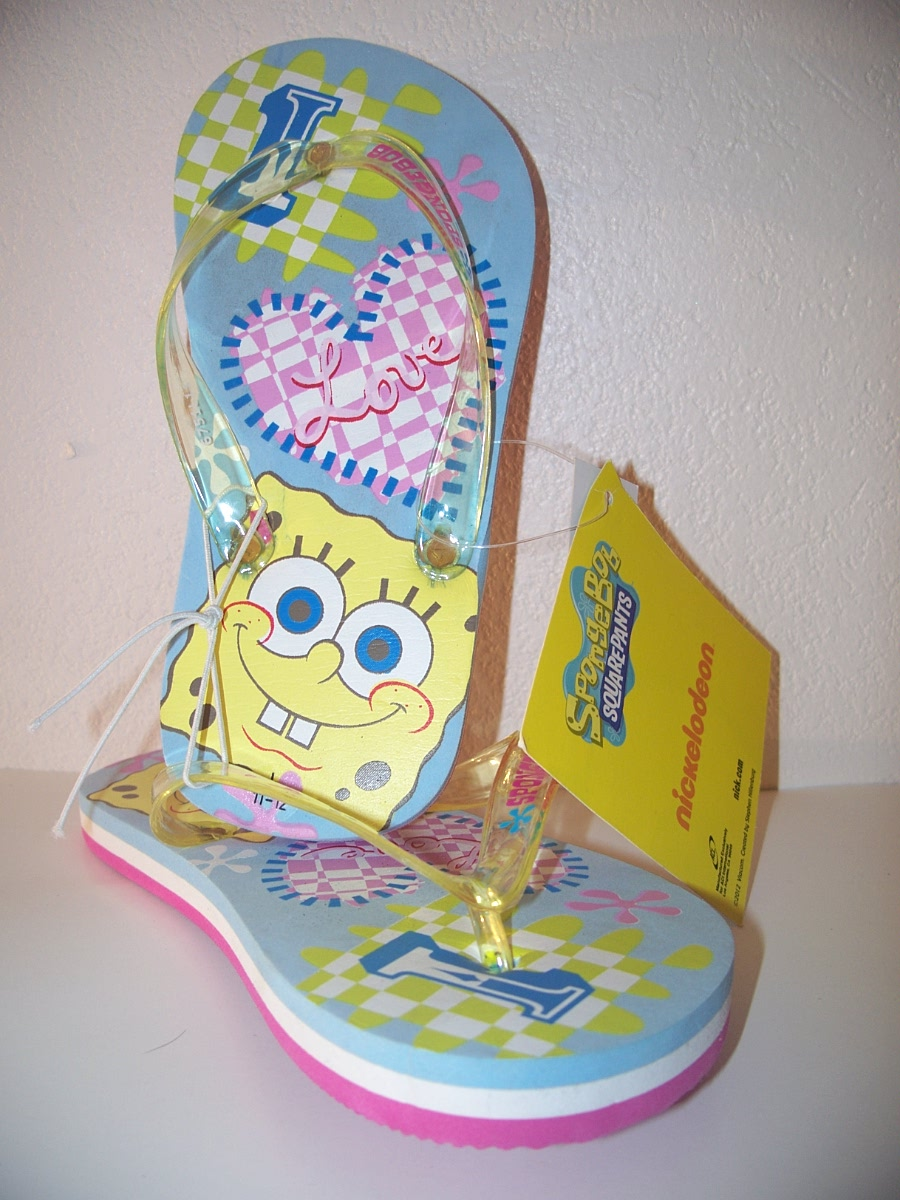 Spongebob Boys Flip Flops small, medium, large Blue