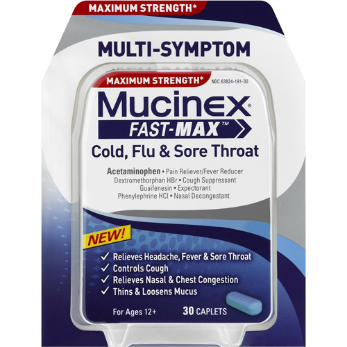 Mucinex Fast-Max Cold, Flu & Sore Throat Caplets, 30 count