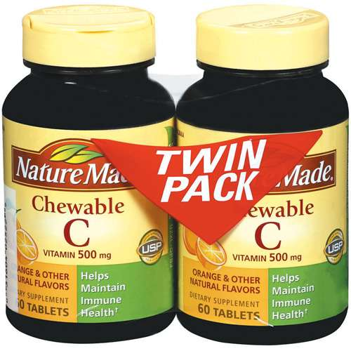 Nature Made Vitamin C Chewable 500 mg Twin Pack Tablets 60 ct