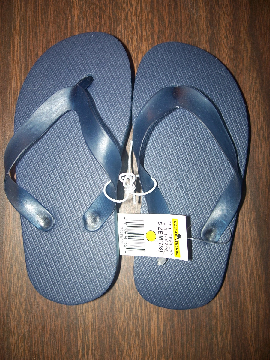 Flip Flops Sz Medium Plain (navy blue)