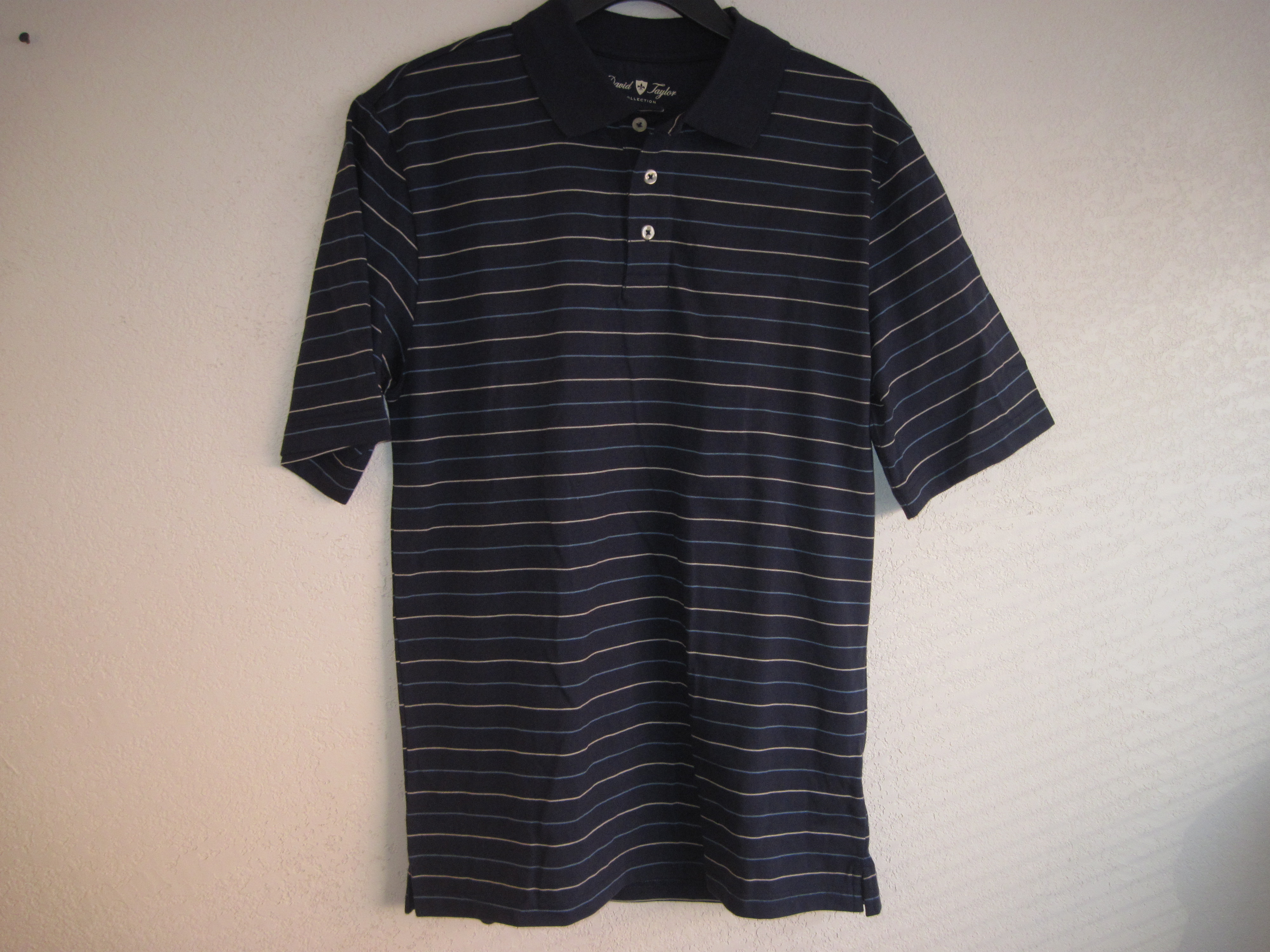 David Taylor Sz Small Neutral Polo Shirt ( dark blue & stripes)