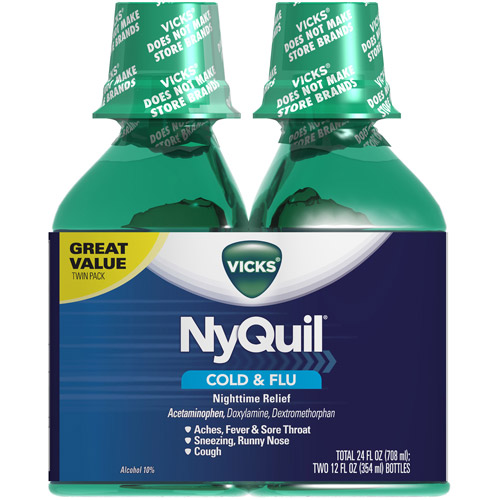 Vicks Nyquil Original Flavor Cold & Flu Relief, 12 fl oz, 2ct