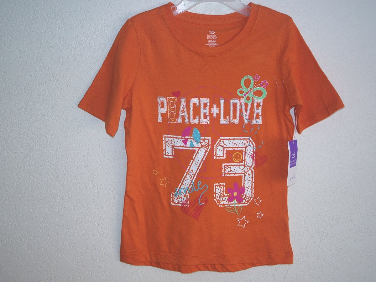 Sz Small 6/6X Orange Peace & Love T-Shirt