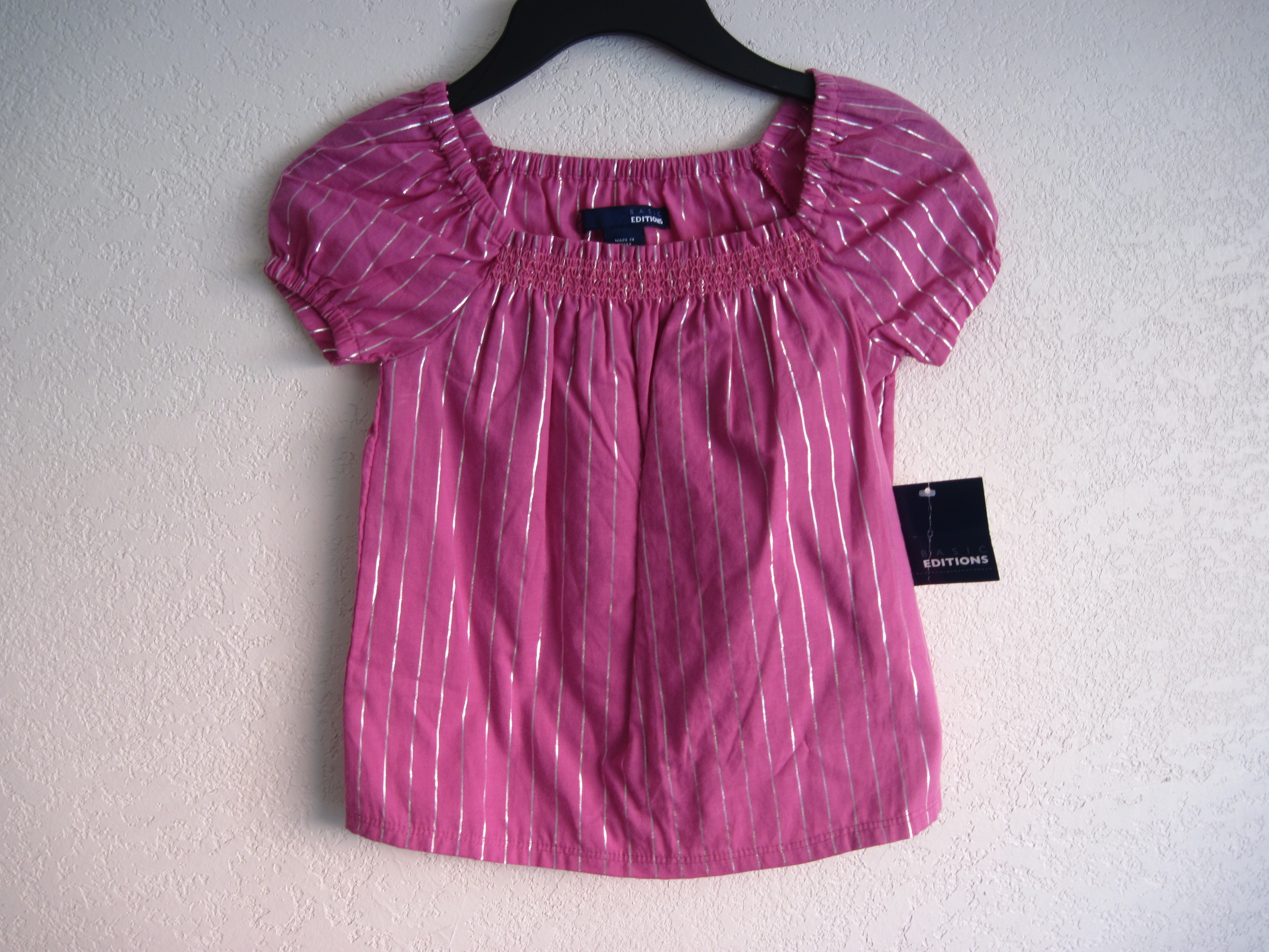 Basic Editions Sz XS 4/5 Casual Top (pink,silver stripes)