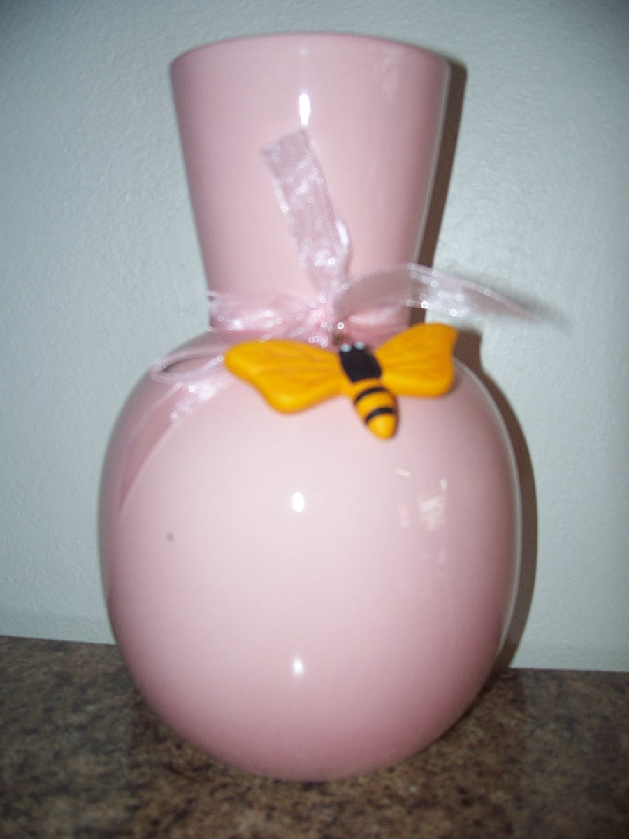 Pink Vase with Yellow Bee on a Pink Ribbon